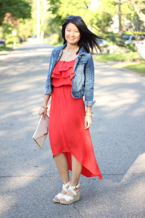red winners dress - blue denim Joe Fresh jacket - off white clutch asos bag