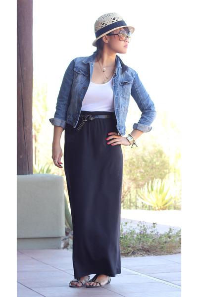 maxi skirt navy skirts straw target hats denim