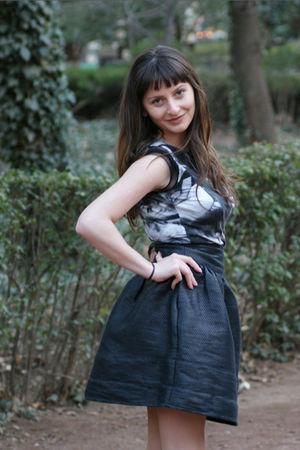 black Mango skirt - roberto cavalli blouse