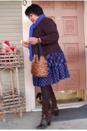 brown Macys shirt - blue Macys skirt - brown payless boots