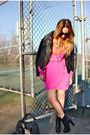Black-leather-steve-madden-boots-hot-pink-nasty-gal-dress