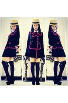 red and navy knitted dove coat - straw boater hat - thigh-high asos socks