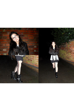 black Mango jacket - white Topshop tights - black aa shirt - black Miss Selfridg