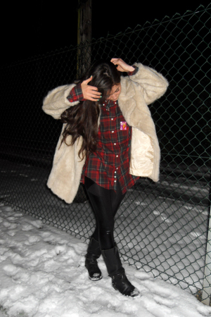 black Topshop leggings - red charity shop shirt - beige charity shop coat - blac