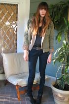 green Kenneth Cole jacket - black Joes Jeans jeans - black Zara boots