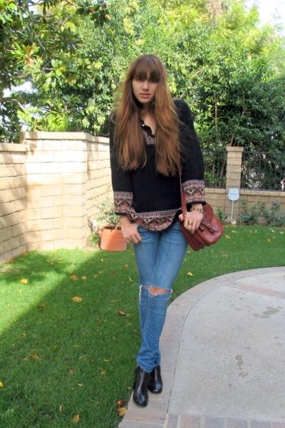 vintage sweater - Earnest Sewn jeans - stefane kelian shoes - vintage purse