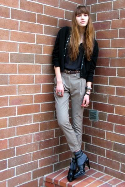 black vintage cardigan - black madewell t-shirt - black Alexander Wang shoes - b