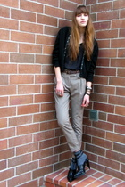 black vintage cardigan - black madewell t-shirt - black Alexander Wang shoes - b