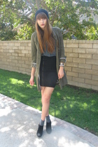 H&M hat - catherine malandrino jacket - Urban Outfitters shirt - H&M skirt - Bal