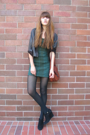 vintage jacket - free people dress - unknown tights - Bally shoes