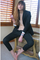 black Express blazer - beige nellie partow shirt - black Bebe pants
