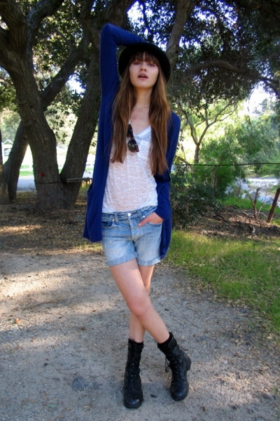 Urban Outfitters hat - Forever 21 t-shirt - madewell sweater - Marc Jacobs short