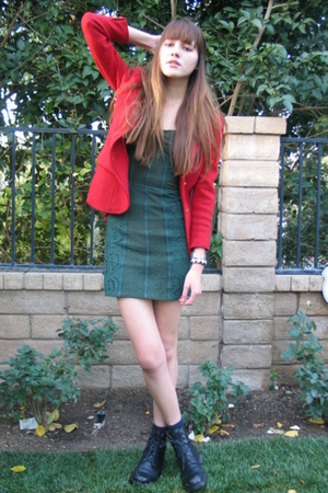 vintage blazer - free people dress - Cole Haan boots