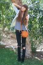 vintage blazer - Zara t-shirt - J Brand jeans - Il Bisonte purse - Bally shoes
