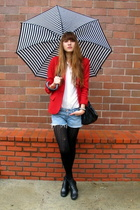 red vintage blazer - black stefane kelian shoes - white Gap shirt