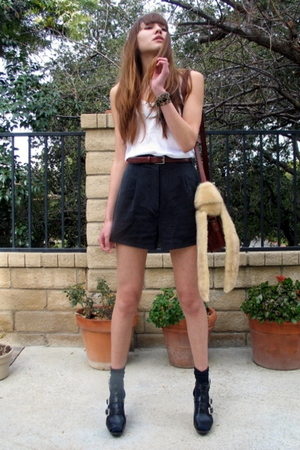 gray Forever 21 shorts - white Bebe top - black Via Spiga shoes