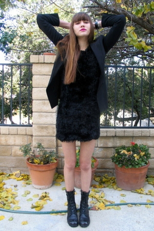 black Express blazer - black H&M dress - vintage boots