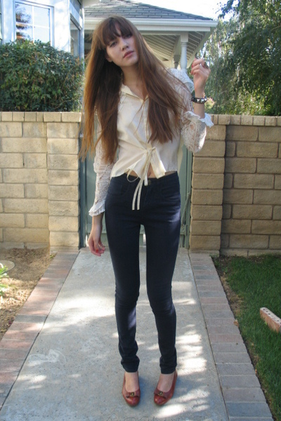vintage top - Tigerlily jeans - Salvatore Ferragamo shoes