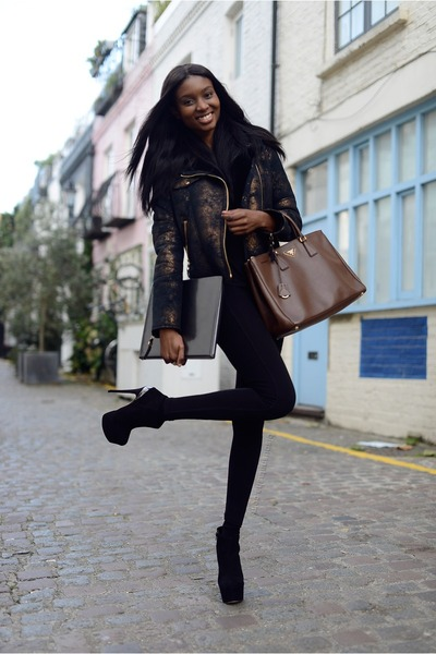 black 7 for all mankind jacket - black Kurt Geiger boots - black Zara leggings