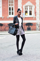 Zara skirt - black Topshop jacket - white Zara top