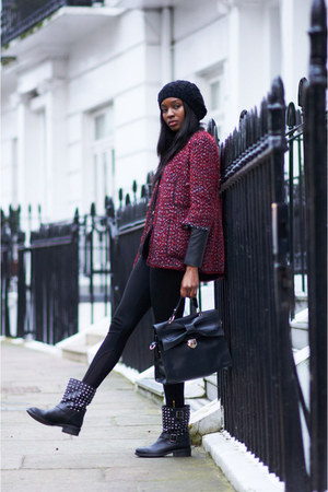 black Carvela boots - crimson tweed Zara jacket - black Zara leggings