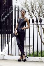 maroon velvet material Zara bag - black virgos lounge romper - black Zara heels