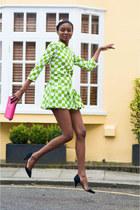 chartreuse Sheinside dress - hot pink Zara bag