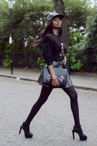 black embellished amen sweatshirt - black Monki purse - black leather asos skirt