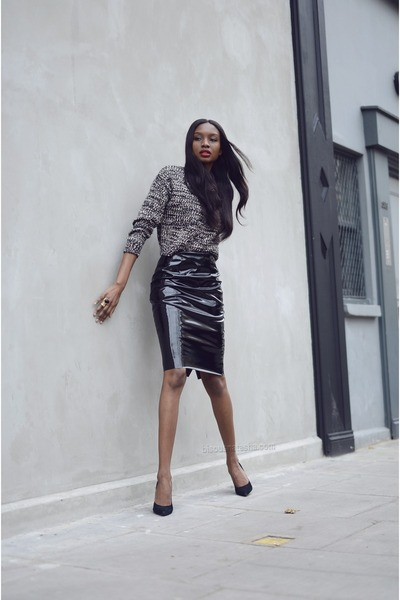 black pvc Topshop skirt - charcoal gray Primark jumper - black SuperTrash heels