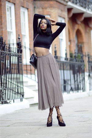 crop top asos top - Chanel bag - pleated whistles skirt