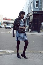 black Chanel bag - navy checkered asos dress - black asoscom loafers