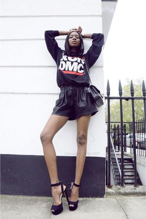 leather Zara shorts - Chanel bag - Zara heels - Michael Kors watch
