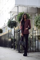 crimson tweed Zara jacket - black asoscom leggings