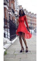 red asos dress - black Zara heels