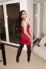 Black-black-boots-forever-21-boots-ruby-red-love-dress