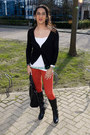 Black-faux-leather-forever21-boots-ruby-red-skinny-jeans-bershka-jeans