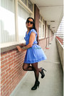 Sky-blue-spring-dorothy-perkins-dress-black-black-leather-paula-soler-heels