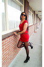 Red-red-dress-forever-21-dress-black-leather-paula-soler-heels