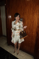 Janylin shoes - vintage floral veronicas closet dress - alma Louis Vuitton bag