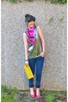 silver verycouk top - hot pink Primark scarf - yellow French Connection bag
