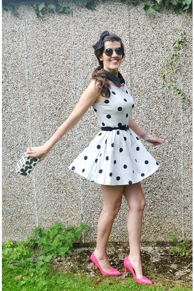 black sunglasses firmoo accessories - off white polka dots Primark dress
