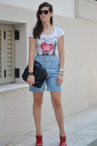 sky blue denim chicnova shorts - black romwe bag