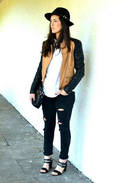 black Topshop jeans - black Front Row Shop hat - burnt orange romwe jacket
