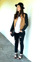black Topshop jeans - black Front Row Shop hat - burnt orange romwe jacket