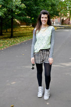 lime green lace Front Row Shop top - black checkered Ebay shorts