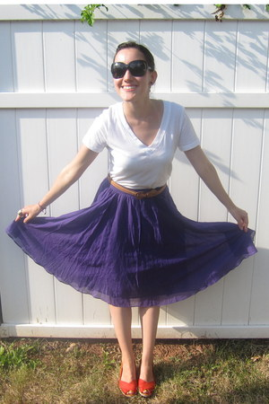 purple JCrew skirt - black versace sunglasses