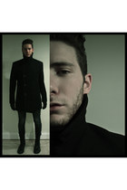black military boots H&M boots - black wool peacoat Navy coat
