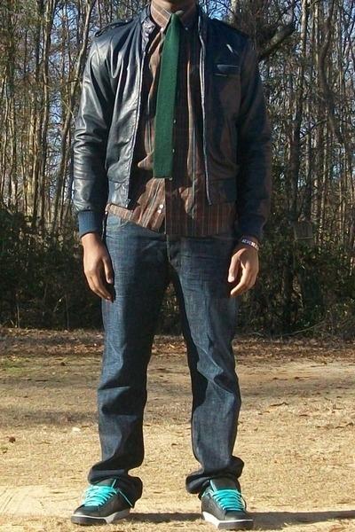 Members Only jacket - tie - Alan Flusser shirt - Levis jeans - Nike Blazer SB sh