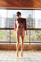 bubble gum Zara dress - red Emme jacket - gold Sapato da Corte flats
