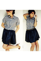 white vintage blouse - gold vintage belt - black Zara Kids skirt
